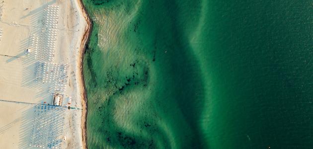 Warnemünde Strand Vogelperspektive